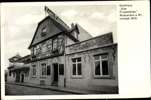 Ak Rüdesheim am Rhein Hessen, Gasthaus Zum Felsenkeller