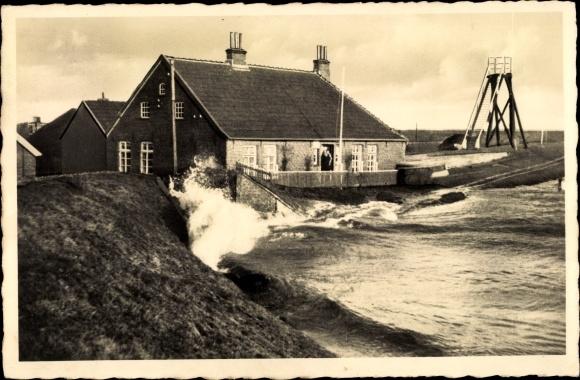 Ak Horumersiel Wangerland in Friesland, Sturmflut, Häuser an der Küste