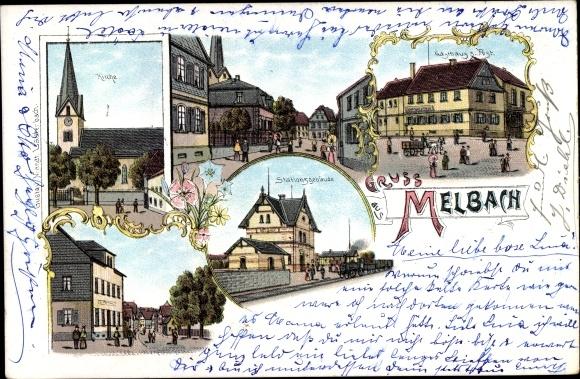 Litho Melbach Wölfersheim im Wetterhauskreis Hessen, Kirche, Stationsgebäude, Gasthaus zur Post