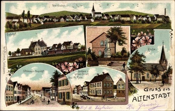Litho Altenstadt in Hessen, Totalansicht, Kirche, Denkmal, Bahnhof, Gasthaus zum gelben Hirsch