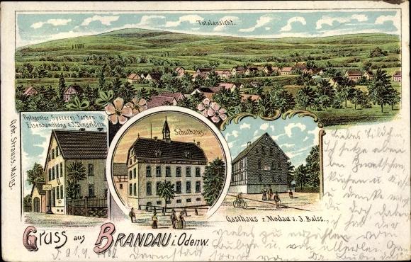 Litho Brandau Modautal in Hessen, Schulhaus, Gasthaus z. Modau, Postagentur