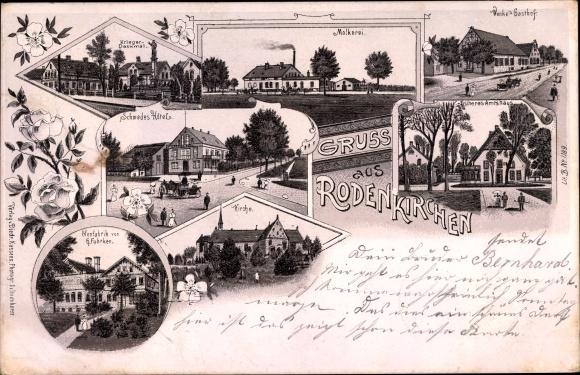 Litho Rodenkirchen Stadland im Landkreis Wesermarsch, Molkerei, Gasthof, Hotel, Kirche, Fabrik