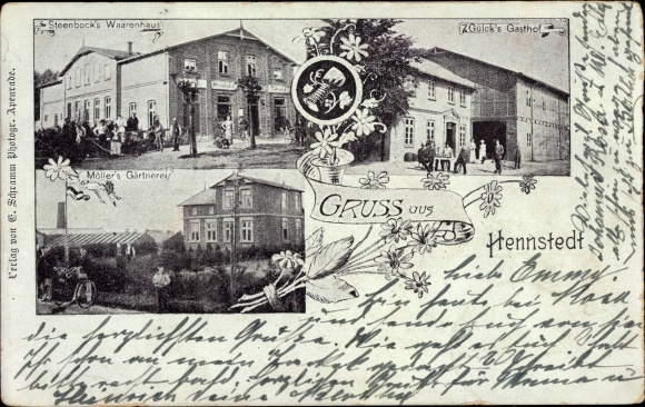 Ak Hennstedt Dithmarschen, Steenbock's Warenhaus, Gasthof Gülck, Möller's Gärtnerei