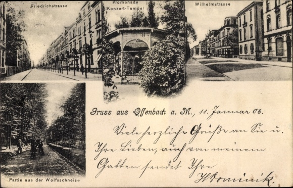 Ak Offenbach am Main Hessen, Friedrichstraße, Promenade, Wilhelmstraße