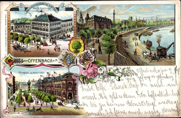 Litho Offenbach am Main Hessen, Kaiser Friedrich Hotel, Aliceplatz