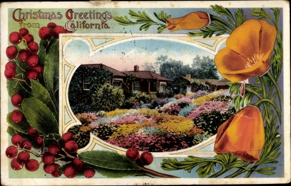 Passepartout Ak Kalifornien USA, Christmas Greetings