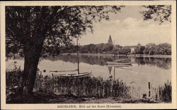 Ak Haderslev Hadersleben Dänemark, Blick auf den Damm, Binnensee