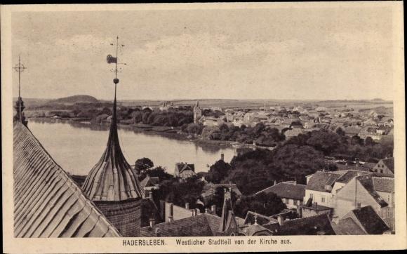 Ak Haderslev Hadersleben Dänemark, Westlicher Stadtteil von der Kirche aus
