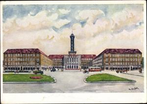 Künstler Ak Ostrava Ostrau Reg. Mährisch Schlesien, Neues Rathaus