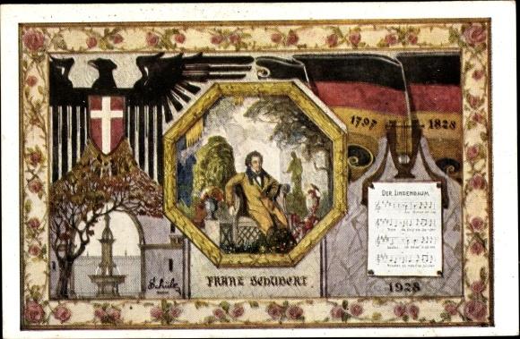 Künstler Ak Wien, 10. Dt. Sängerbundesfest 1928, Franz Schubert, Österreichischer Komponist