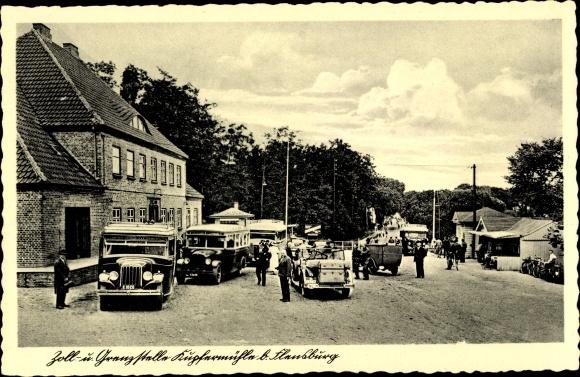 Ak Flensburg in Schleswig Holstein, Zoll und Grenzstelle Kupfermühle, Omnibus