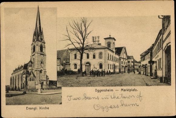 Ak Oggersheim Ludwigshafen am Rhein Rheinland Pfalz, Marktplatz, Evangelische Kirche