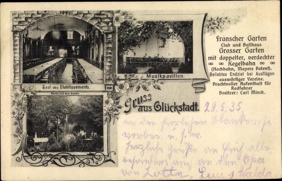 Ak Glückstadt in Schleswig Holstein, Franscher Garten, Carl Minck, Innenansicht