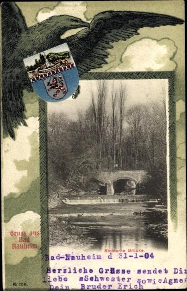 Wappen Passepartout Ak Bad Nauheim im Wetteraukreis Hessen, Steinerne Brücke, Adler