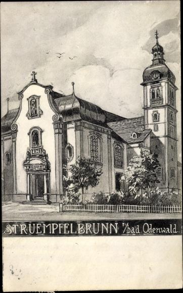 Ak Strümpfelbrunn Waldbrunn Neckar Odenwald Kreis, Kirche
