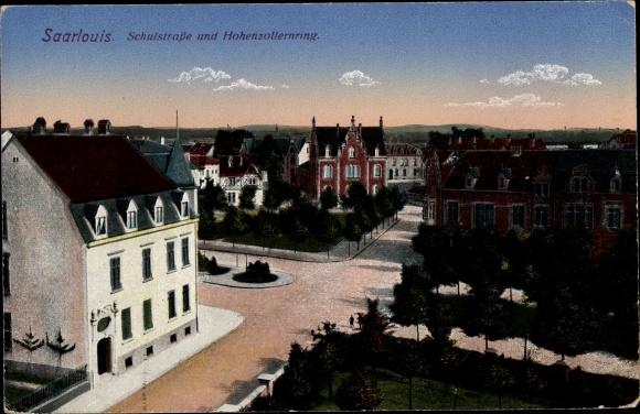 Ak Saarlouis im Saarland, Schulstraße und Hohenzollernring