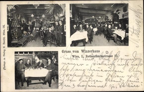 Ak Wien, Gasthaus Winzerhaus, Rothenthurmstraße 17, Innenansichten