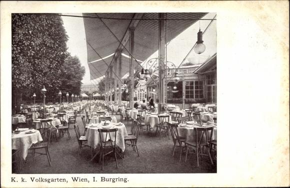 Ak Wien, K. k. Volksgarten, Burgring, Terrasse