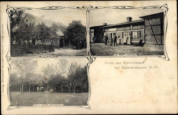 Ak Dietrichsdorf Westpreußen, Carl Wolfs Gasthaus, Schule, Garten Etablissement