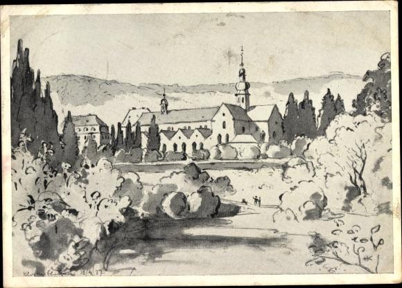 Künstler Ak Eberbach im Rheingau, Kloster Eberbach, Ortsansicht