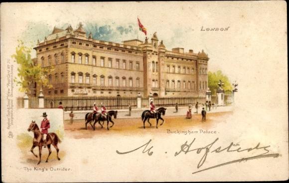 Litho London City, Buckingham Palace, King's Outrider, Tuck 20
