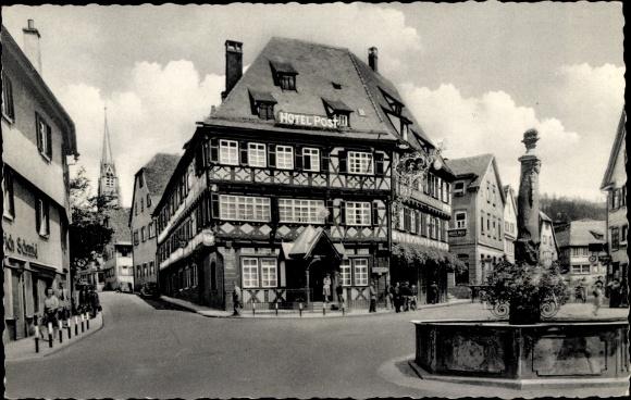 Ak Nagold im Kreis Calw Baden Württemberg, Am Hotel Post