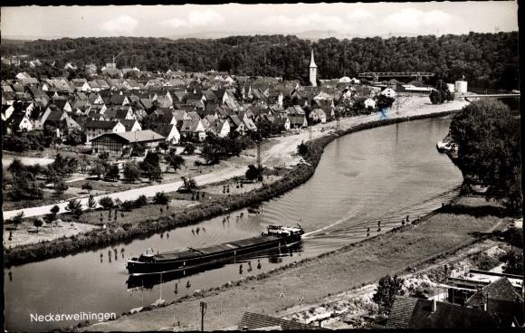 Ak Neckarsweihingen Ludwigsburg in Baden Württemberg, Vogelschau, Schiff