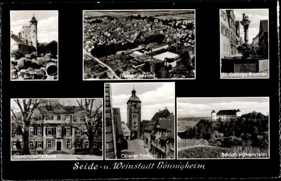 Ak Bönnigheim BW, Seide- und Weinstadt, Alte Burg, St. Georgsbrunnen, Gehörlosenschule