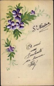 Handgemalt Ak St. Nicolas, Nikolaus, Blumen