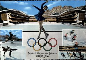 Ak Cortina d'Ampezzo Veneto, Olympische Winterspiele 1956, Stadio Olimpico del Ghiaccio