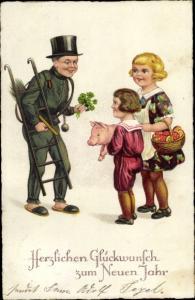 Ak Glückwunsch Neujahr, Schornsteinfeger, Kinder, Schwein, Klee, Pilze