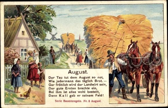 Künstler Ak Bauernregeln Nr. 8, August, Pferdefuhrwerk, Reklame, Kalisyndikat Berlin