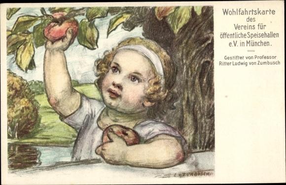 Künstler Ak Zumbusch, Ludwig von, Verein für öffentliche Speisehallen München, Kind, Apfelbaum