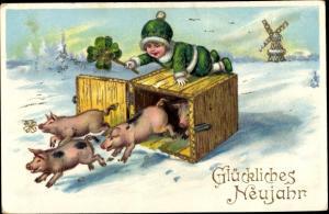 Präge Litho Glückwunsch Neujahr, Kind, Windmühle, Kleeblatt, Schweine