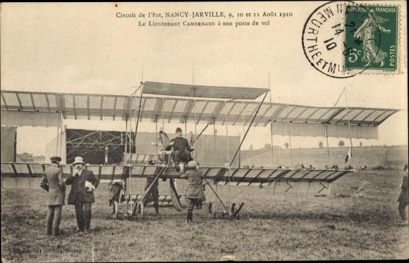 Ak Circuit de l'Est, Nancy Jarville, 9-11 Aout 1910, Lieutenant Camermann