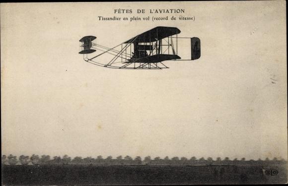 Ak Fetes de l'Aviation, Tissandier en plein vol, record de vitesse