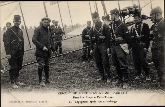Ak Circuit de l'Est d'Aviation, Aout 1910, Première Etape, Paris-Troyes, Legagneux