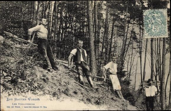 Ak Les Hautes Vosges, Les Schlitteurs, Holzschlitter