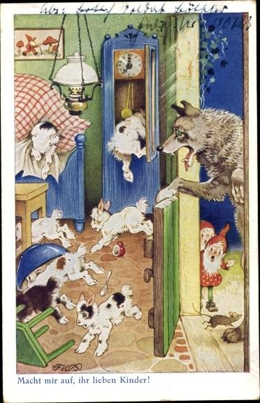 Künstler Ak Baumgarten, Fritz, Der Wolf und die sieben Geißlein, Zwerge, Märchen