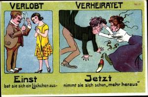 Künstler Ak Verlobt, verheiratet, einst und jetzt
