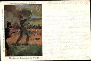 Künstler Ak Deutscher Schmied im Felde und im Frieden, Soldaten