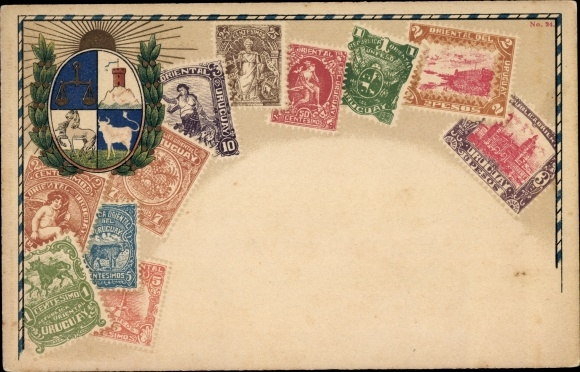 Briefmarken Litho Uruguay, Pesos, Sonnenaufgang