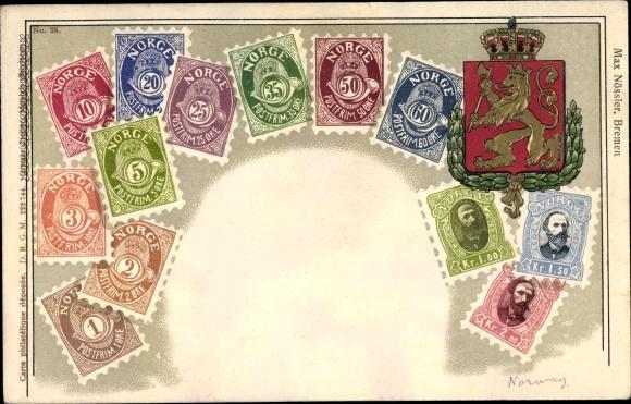 Briefmarken Wappen Litho Norwegen, Kronen