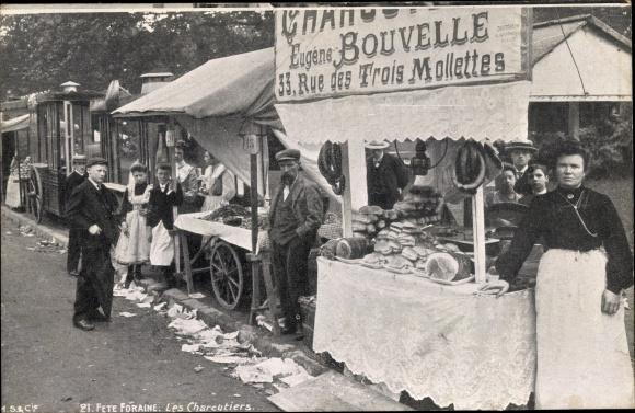 Ak Fete Foraine, Les Charcutiers, Händler, Eugene Bouvelle, Rue des Trois Mollettes