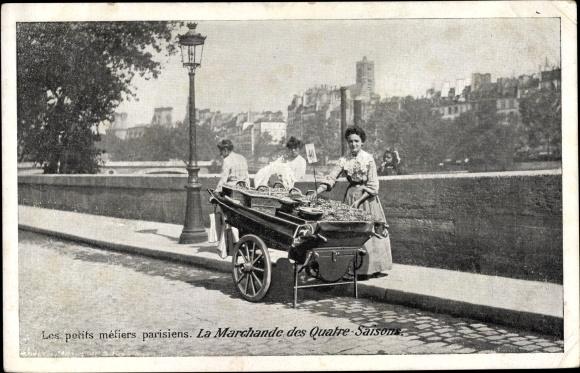 Ak Les petits metiers parisiens, la Marchande des Quatre Saisons, Straßenhändlerin