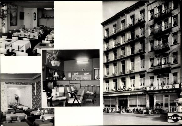 Ak Blankenberge Westflandern, Hotel Triton Central Plage, Digue de Mer 78-79