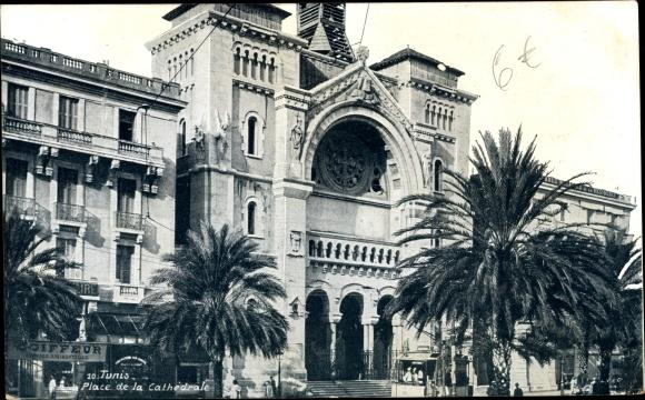 Ak Tunis Tunesien, Place de la Cathédrale