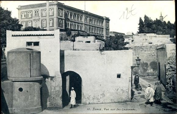 Ak Tunis Tunesien, Vue sur les Casernes