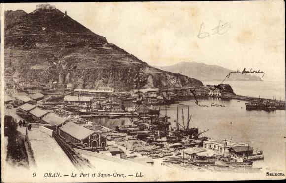 Ak Oran Algerien, Le Port et Santa Cruz