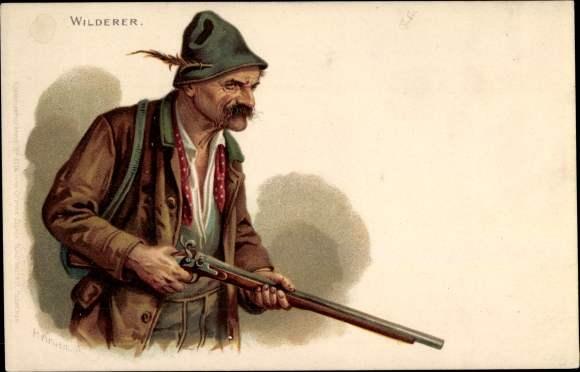 Künstler Litho Kruemer, P., Wilderer auf der Jagd, Gewehr, Jägerhut